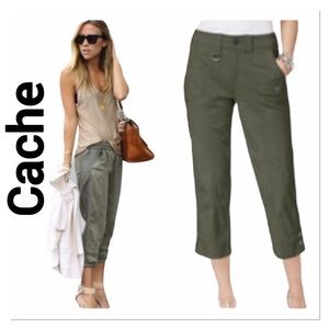CACHE Olive Green Cargo Capris size 6